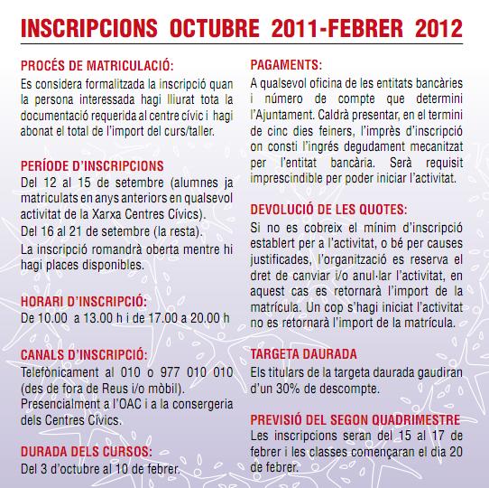 Inscripcio Reus 2011-2012